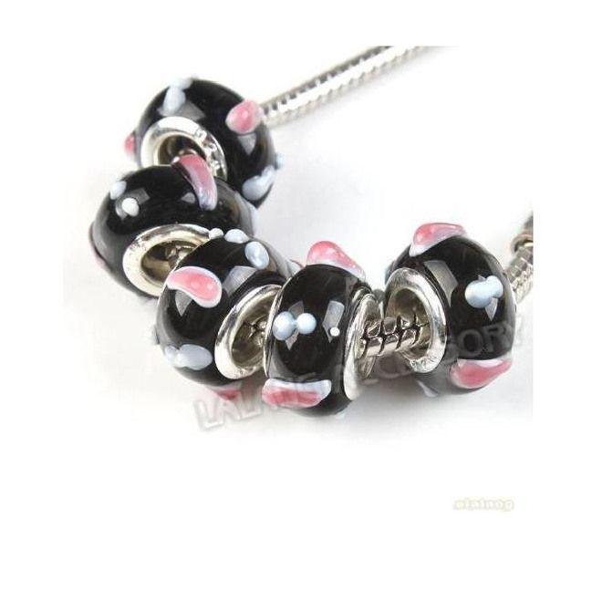 10 Perle Perline Beads a foro largo in Resina di Vetro di Murano per Collana Bracciali tipo Pandora Bigiotteria Lotto e Stock