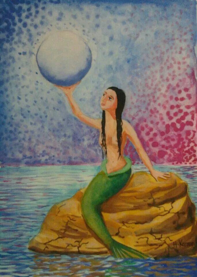 Mermaid, watercolors on paper.  #sea #mermaid #beautiful #moon #night #dreams #love #fish #art #artist www.facebook.com/HamzaKanaanOfficial