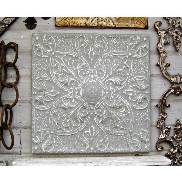 Framed Metal Wall Art vintage ceiling pressed tin tile 2'x2 framed metal tile antique