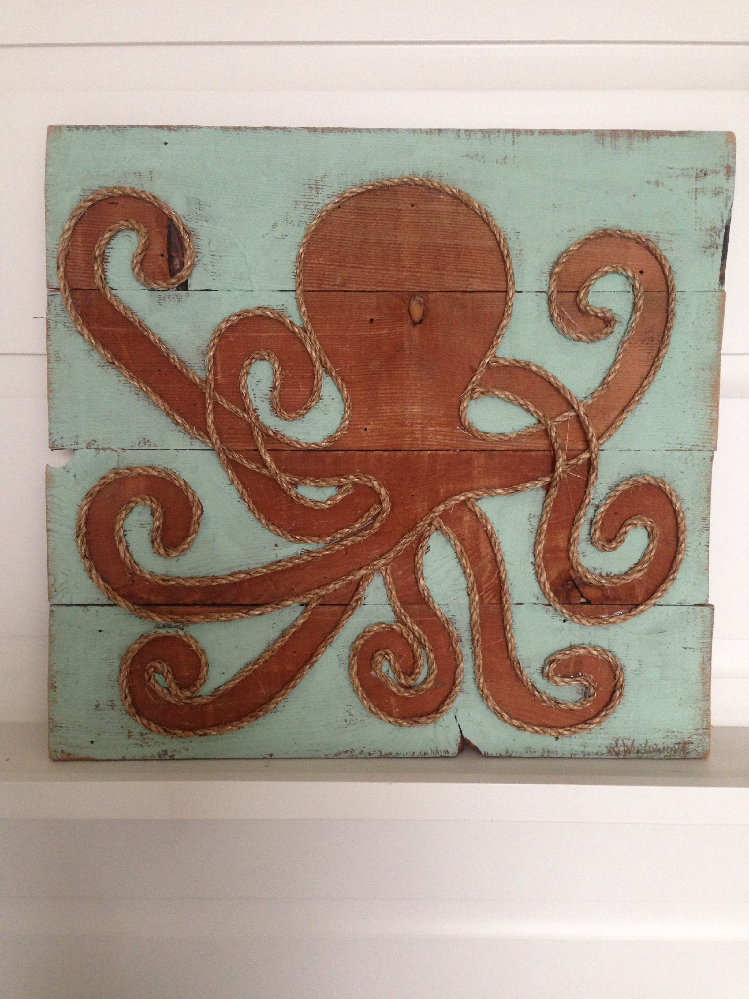 Reclaimed Wood And Rope Octopus