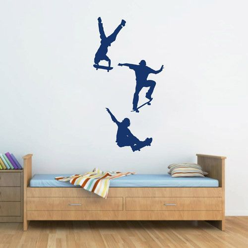 Ik1751 Wall Decal Sticker Skate Skateboarder Sport Living Room Children Bedroom Sports Wall Decals Sports Wall Decor Wall Stickers Sports