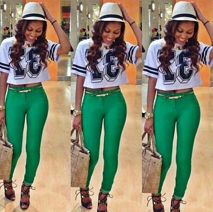 So cute. Loving the green pants