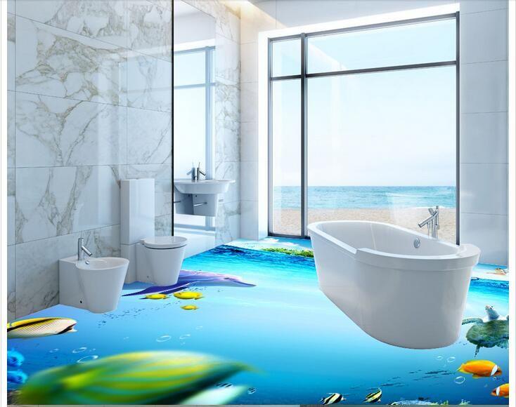 Gunstige 3 D Pvc Bodenbelag Kundenspezifisches Foto Selbstklebende Material Wandaufkleber 3 D Sea World Fisch Badezimmer Badezimmer Design Modernes Badezimmer