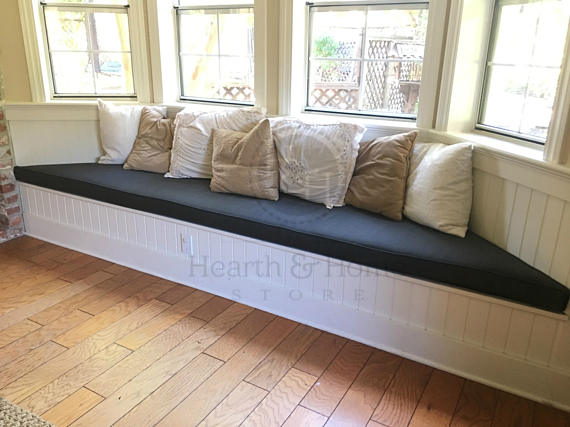 Custom Bay Window Seat Cushion With Cording Trapezoid Bench