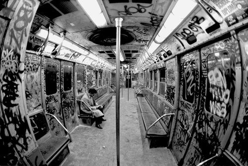 80's New York -- not all subway cars were this bad, but they all had some serious grafitti