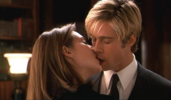 Meet Joe Black~ I loved how she kissed his upper lip and he kissed her lower lip!