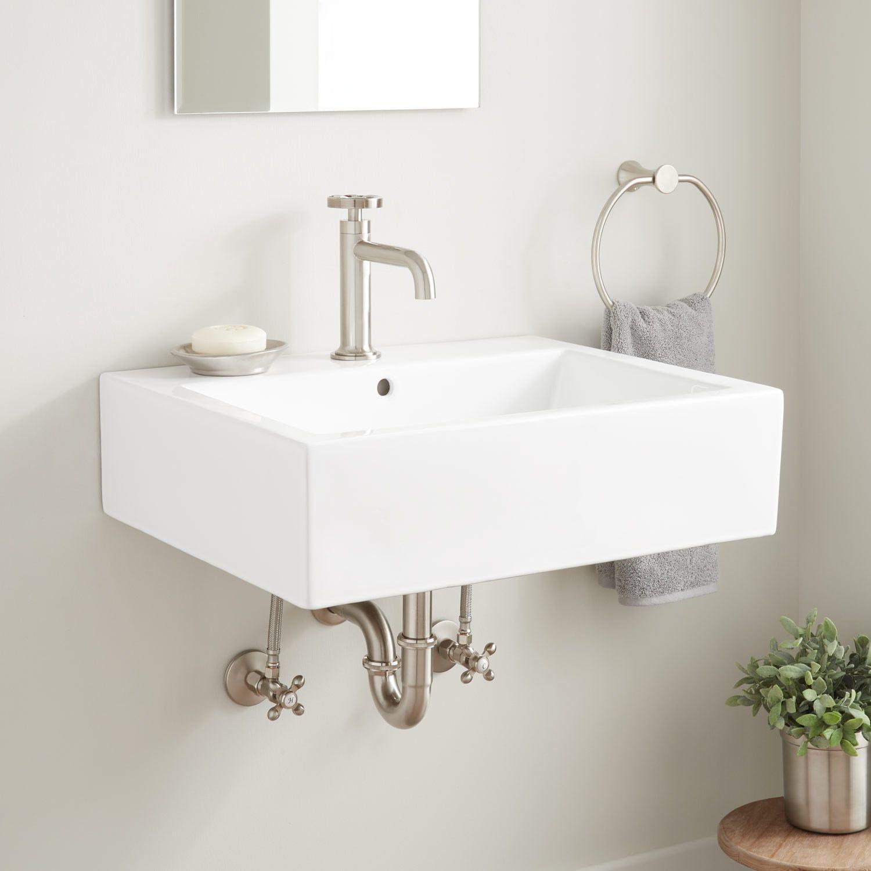 Whitshed Rectangular Porcelain Wall Mount Sink Wall Mounted Bathroom Sinks Wall Mounted Sink Small Bathroom