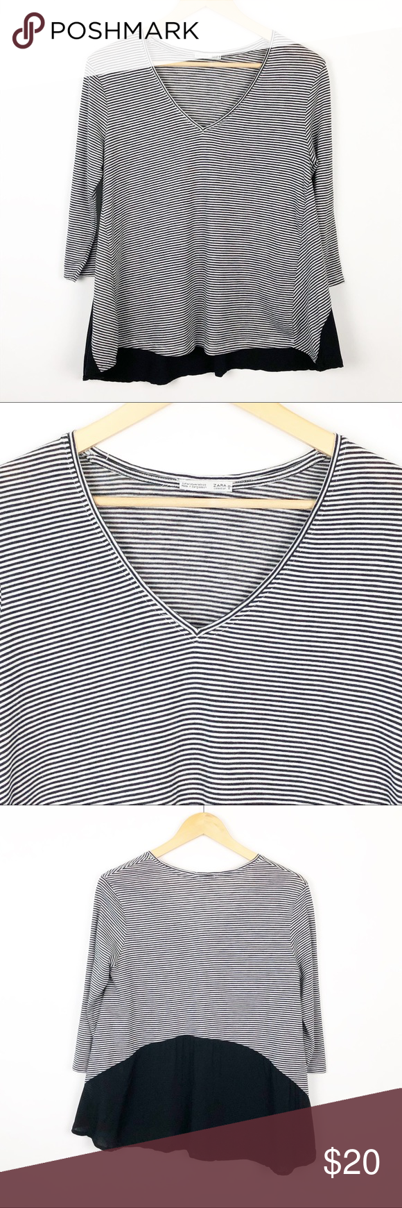 Zara Stripe Top Mixed Media Thin Black And Off White Stripes With A Black Woven Blouse On The Back Lower Portion Of The Top Striped Top Tops Clothes Design