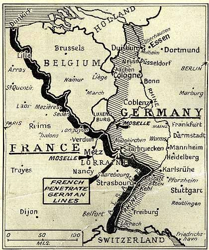 France Would Begin An Offensive Against Germanys Western Border - Map of germany and france