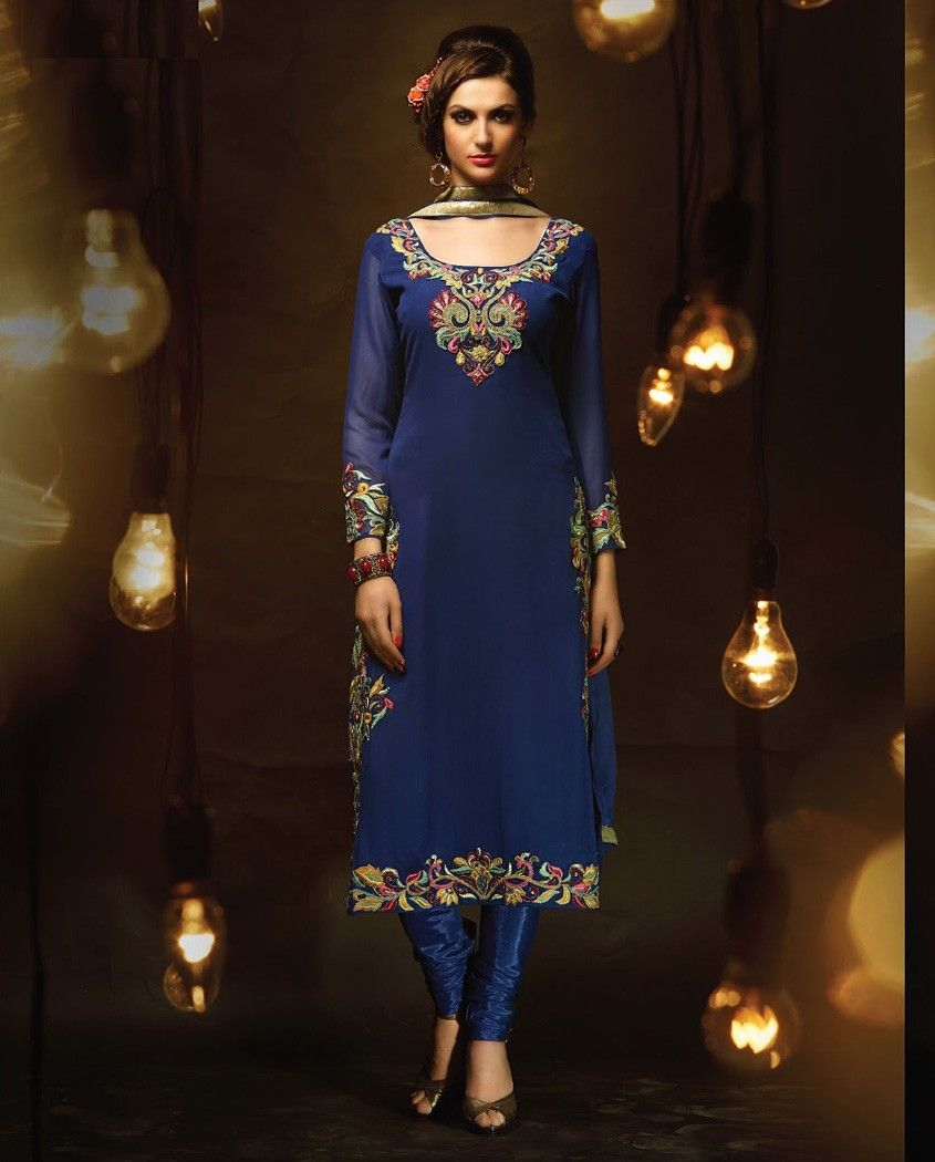 Blue long suit with embroidered neckline blue poly georgette long