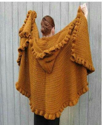 Poncho cape met capuchon | Manteaux | Pinterest | Tejido