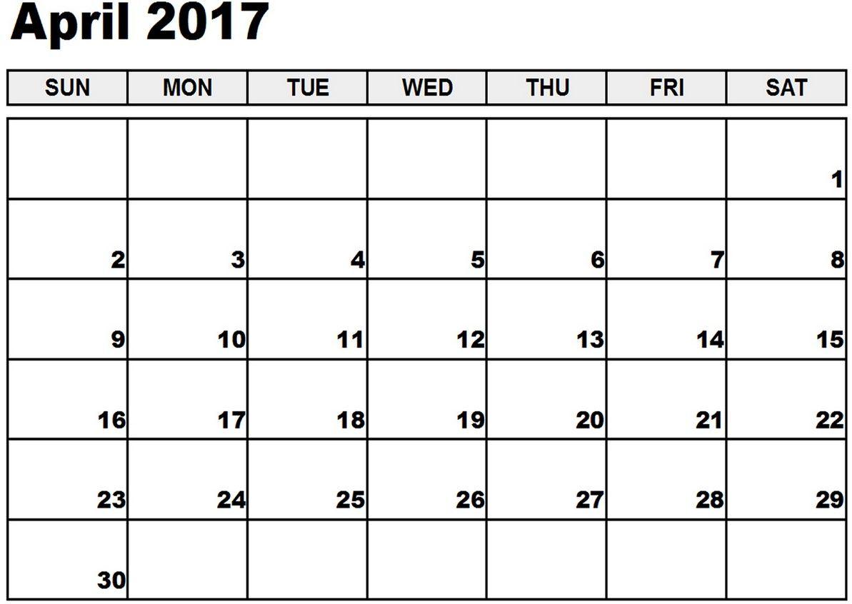 April Calendar 2017 Template 4 Calendar Pinterest April