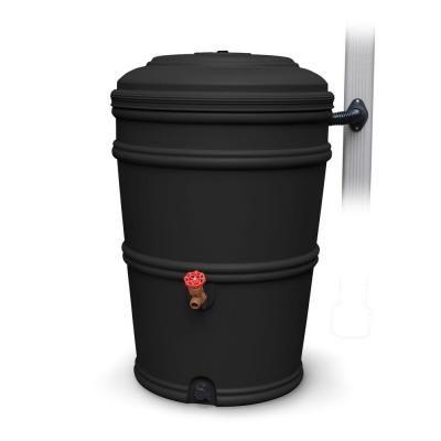 Earthminded Rainstation 45 Gal Recycled Black Rain Barrel With Diverter Rs45 Rc Rain Barrel Rainwater Harvesting Rainwater Harvesting System
