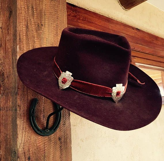 SOLD OUT Vintage Stetson Black Cherry 3X Beaver Cowboy Western Hat with Red  Velvet Hatband Silver Ar 7891fcf8cbb