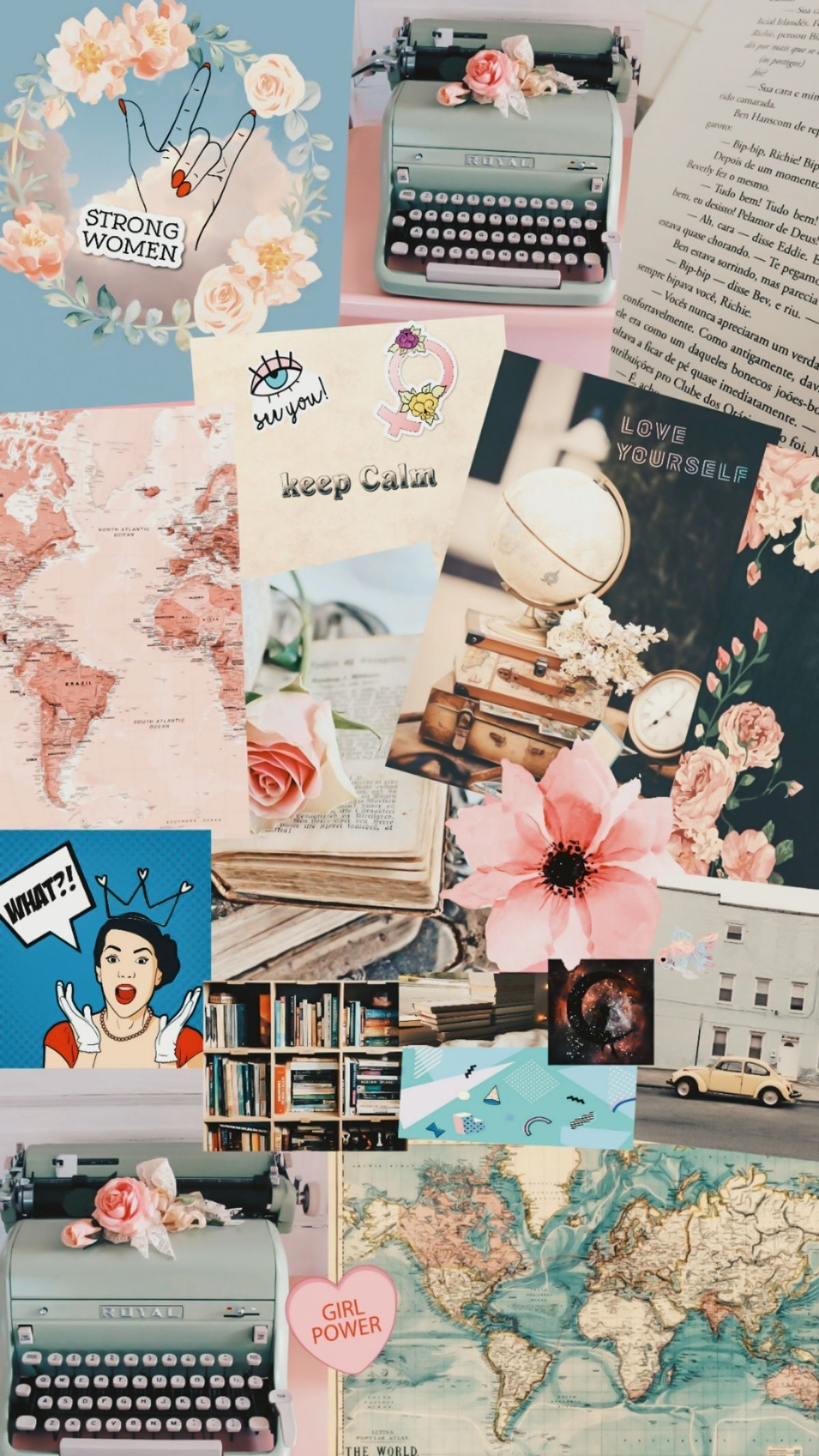 Typewriter Girly Vintage Collage Wallpaper Aesthetic Pastel