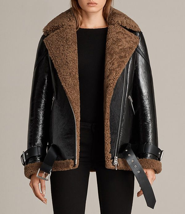 f77a43ebcc Womens Hawley Oversized Shearling Biker Jacket (Black/Brown) - Image ...
