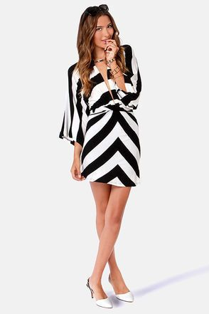 22bf702583 Kimono-a-Mano Black and Ivory Striped Dress