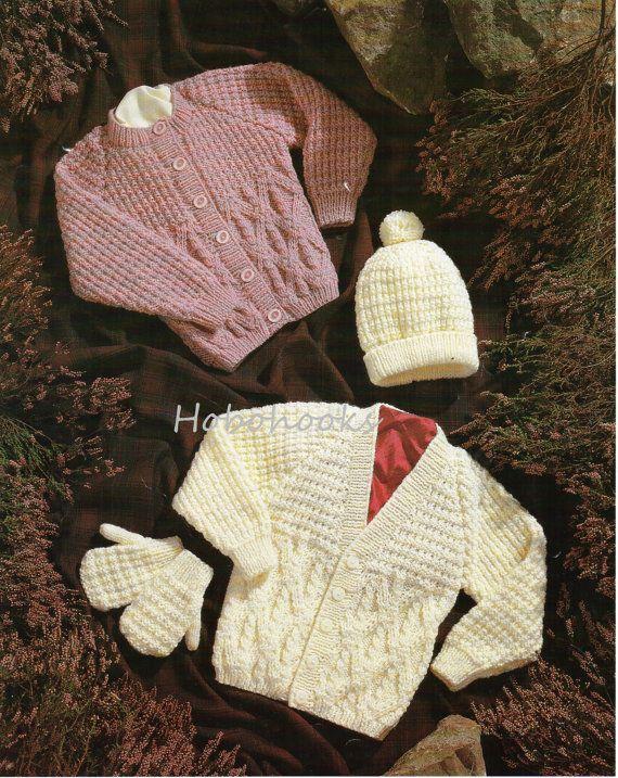 Baby Knitting Pattern Childrens Knitting Pattern aran cardigans, v ...