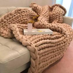 Photo of Wolldecke Cosima Chunky Knit medium 100x150cm, beigeDesiary.de