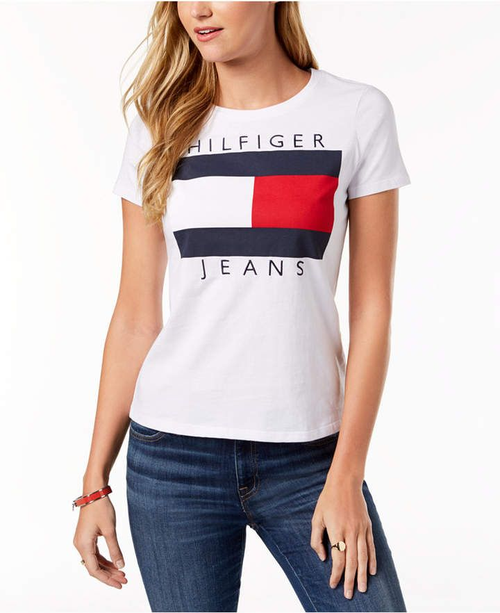 0ed433ae Tommy Hilfiger Cotton Embroidered Logo T-Shirt | Clothes | Tommy ...