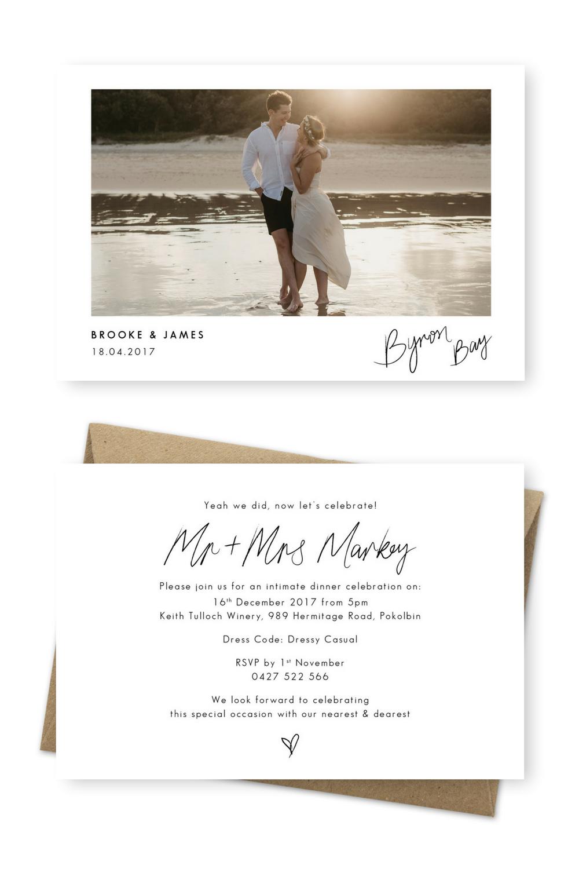 elopement announcement cards photo rustic wedding invitation