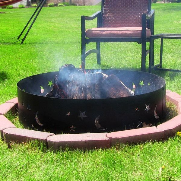 The Sunnydaze 36 Big Sky Campfire Fire Pit Ring Made From Steel Sheet Material Is Very Durable And Weather Resist Backyard Fire Camping Fire Pit Fire Pit Ring
