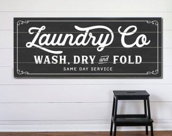 Laundry And Co Sign Entrancing Laundry Co Planked Wood Or Canvas Sign  Room Wash Dry And Fold Review