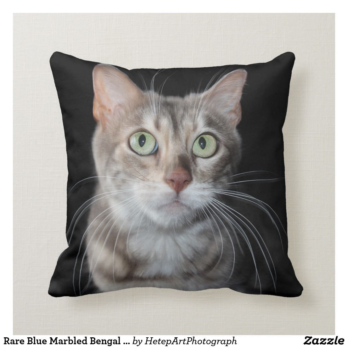 Rare Blue Marbled Bengal Cat Photograph Throw Pillow