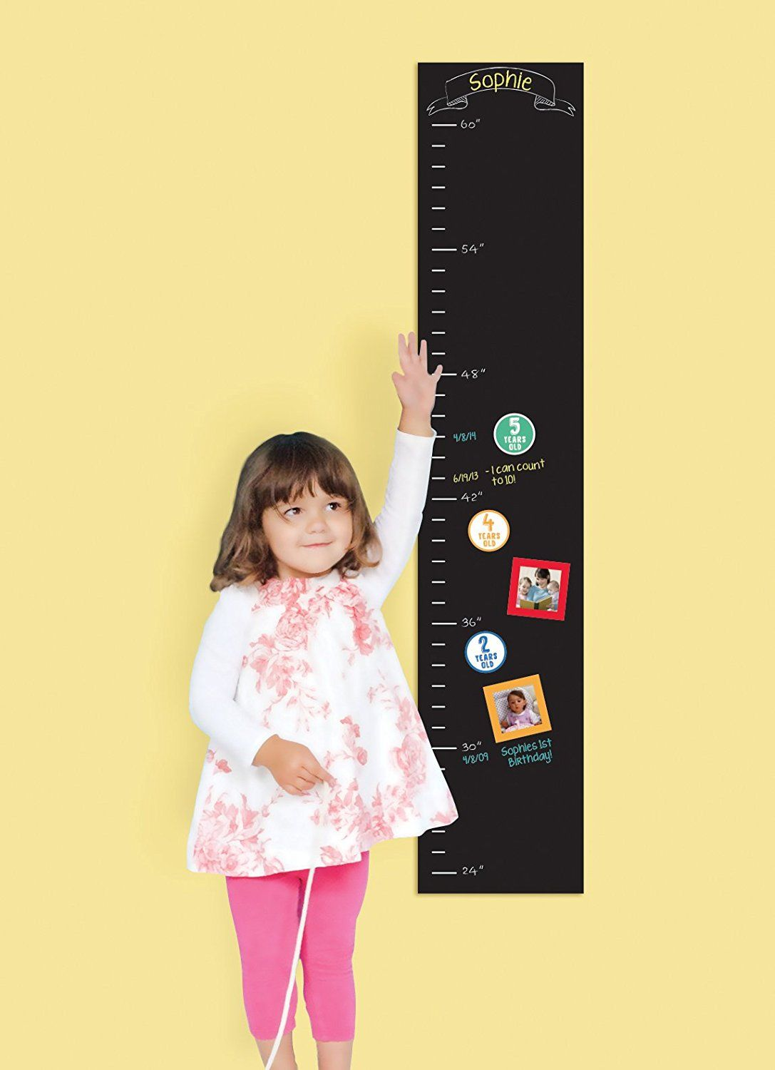 Pearhead Chalkboard Wall Decal Growth Chart, Black * Read more at ...
