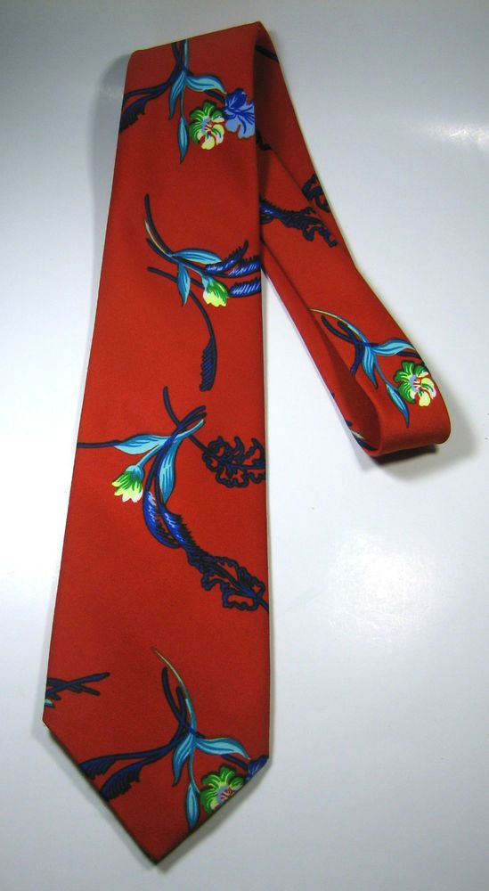 LANCASHIRE Rich Orange Blue Green Purple Flowers ULTRA RARE Vintage Tie  #Lancashire #NeckTie