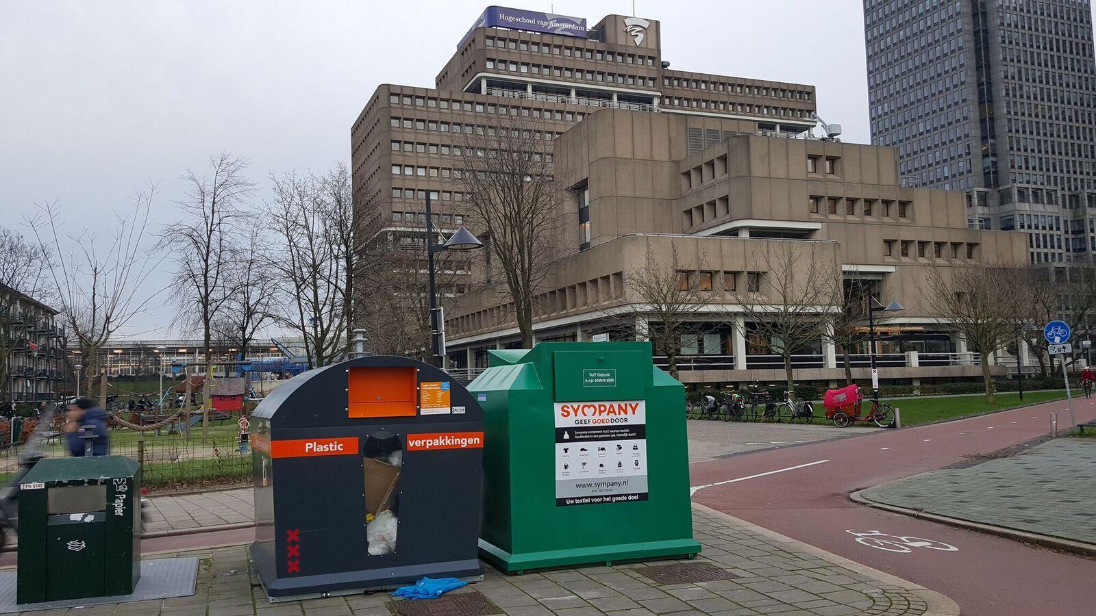 Als onderdeel van de campagne #hergebruikendiezooi heeft Sympany bij Leeuwenborg en AMFI kledingcontainers geplaatst.