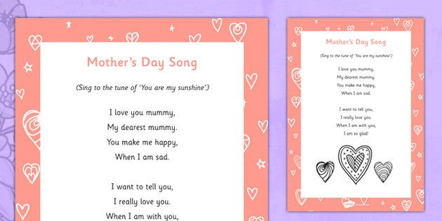Mother S Day Song Mothers Day Songs Mother S Day Activities Mothers Day