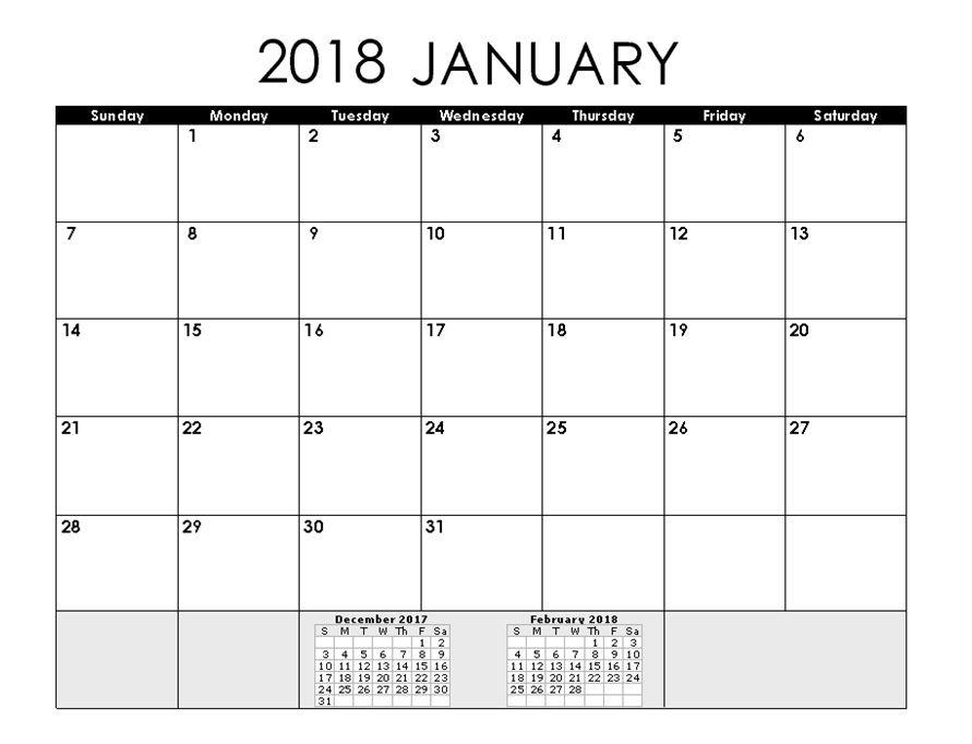 2018 January Calendar Word Format Calendar Pinterest Calendar