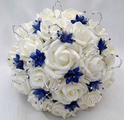 Posies Artificial Wedding Flowers Brides Posy Bouquet And 2 Bridesmaids Ivory Royal Blue
