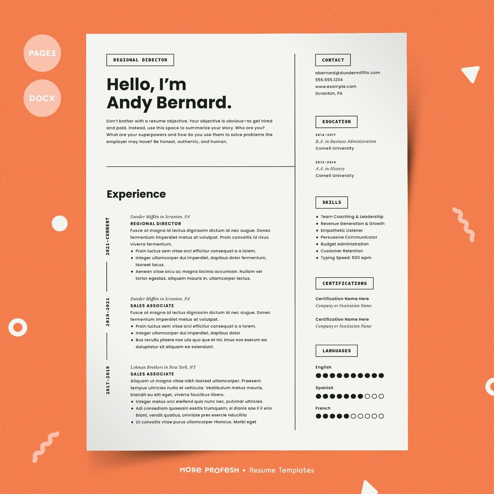 Resume for Mac | Pages Resume | Resume for Pages | CV Template Mac | Simple Resume Template | Minimalist Resume | Resume Template Mac