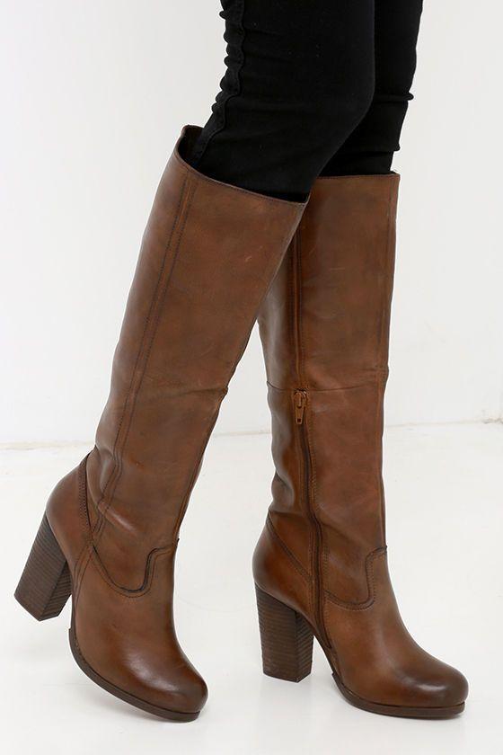 04a8355471a Steve Madden Hudsun Cognac Leather Knee High Boots at Lulus.com!