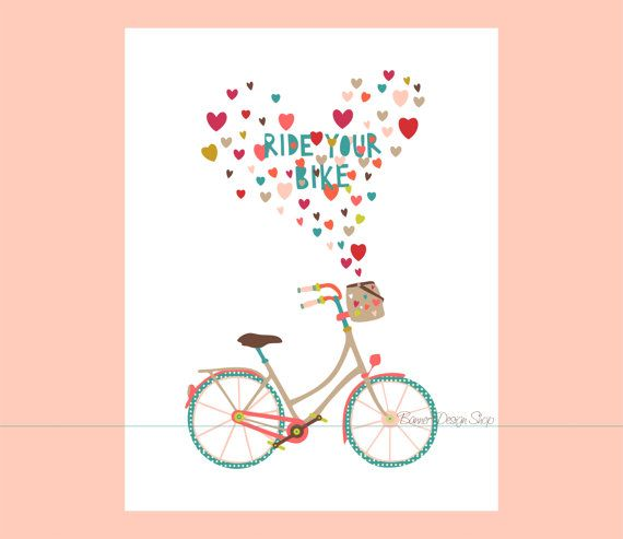 Ride Your Bike Bicycle Icon Art Print Home by BannerDesignShop