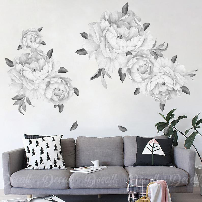 Black White Peony Flower Wall Decal Vintage Watercolor Peel And Stick Reusable Wall Sticker Removable Reusable Wall Decal Dws1044 Wall Stickers Vintage Flower Wall Decals Reusable Wall Stickers