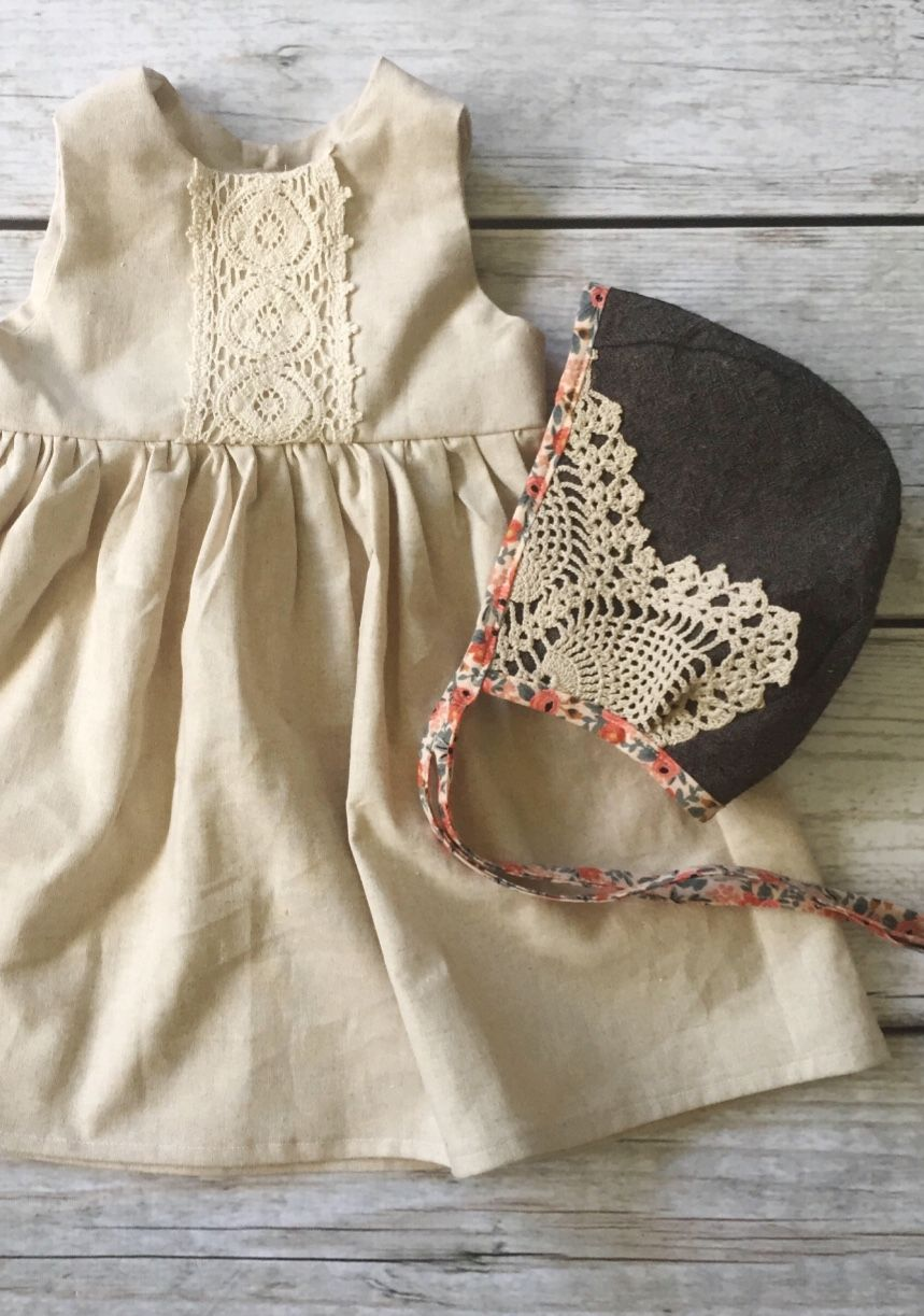 Lace dress for baby girl  Handmade Linen u Lace Dress u Bonnet  ThePathLessRaveled on Etsy