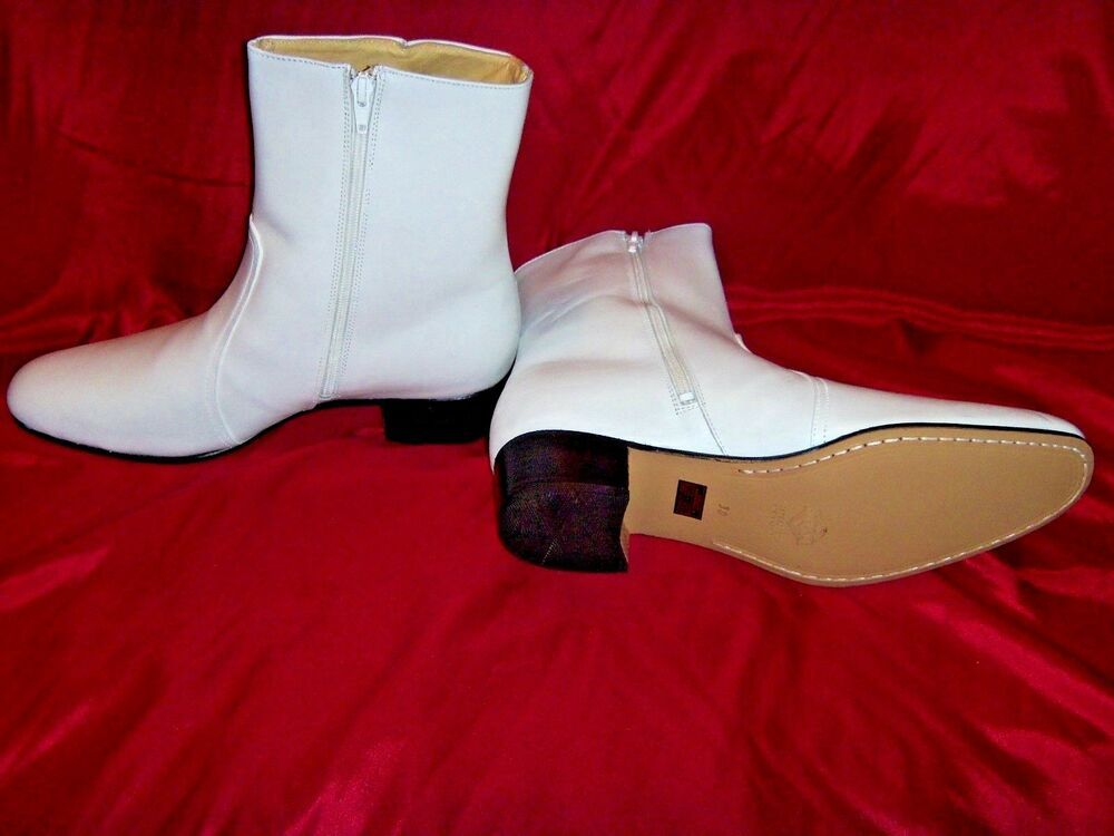 NEW Size USA 9.5 Elvis BLACK 100/% Leather Zip-Up Boots Jumpsuit Costume Era