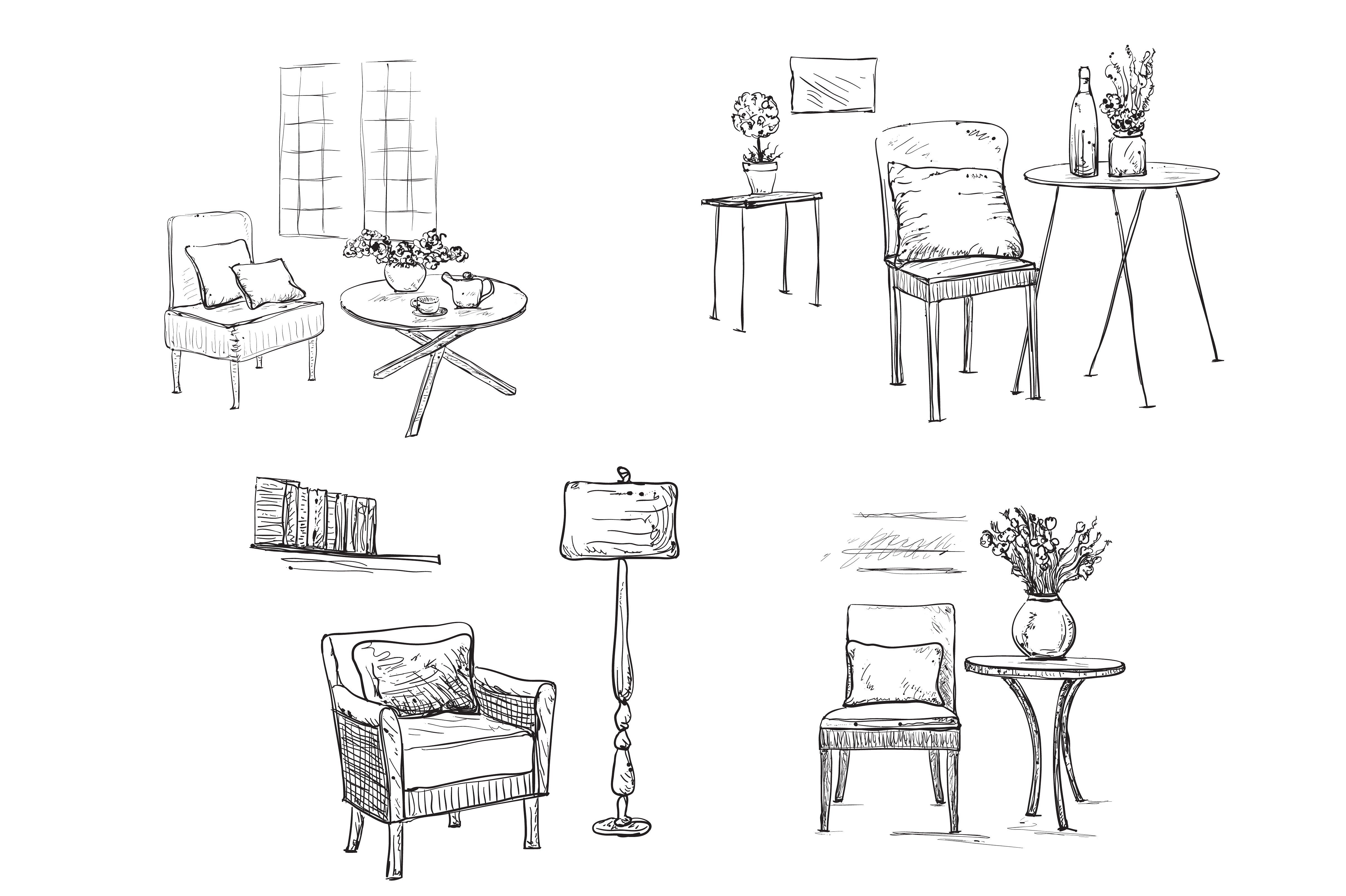 Hand Drawn Interior Chair Sketch Drawing Interior Interior Sketch Velvet Chairs Living Room