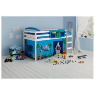 buy shorty mid sleeper whitewash bed frame with blue tent at argoscouk