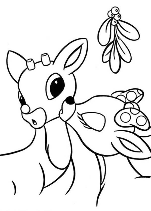 Clarice Kiss Rudolph The Red Nosed Reindeer Under Mistletoe Coloring Page