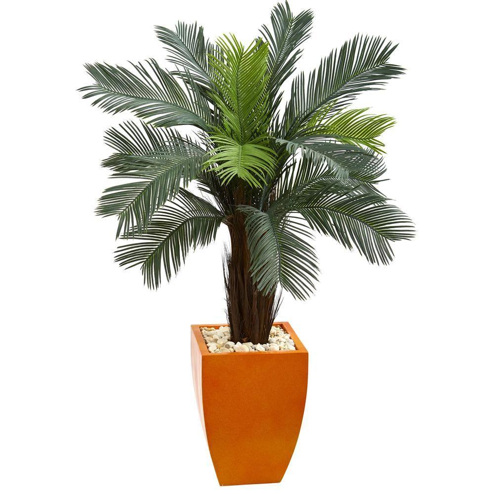 ft high indooroutdoor cycas artificial tree in orange planter