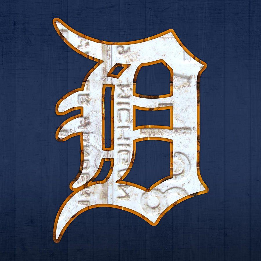 Detroit Tigers Baseball Old English D Logo License Plate Art Mixed ...
