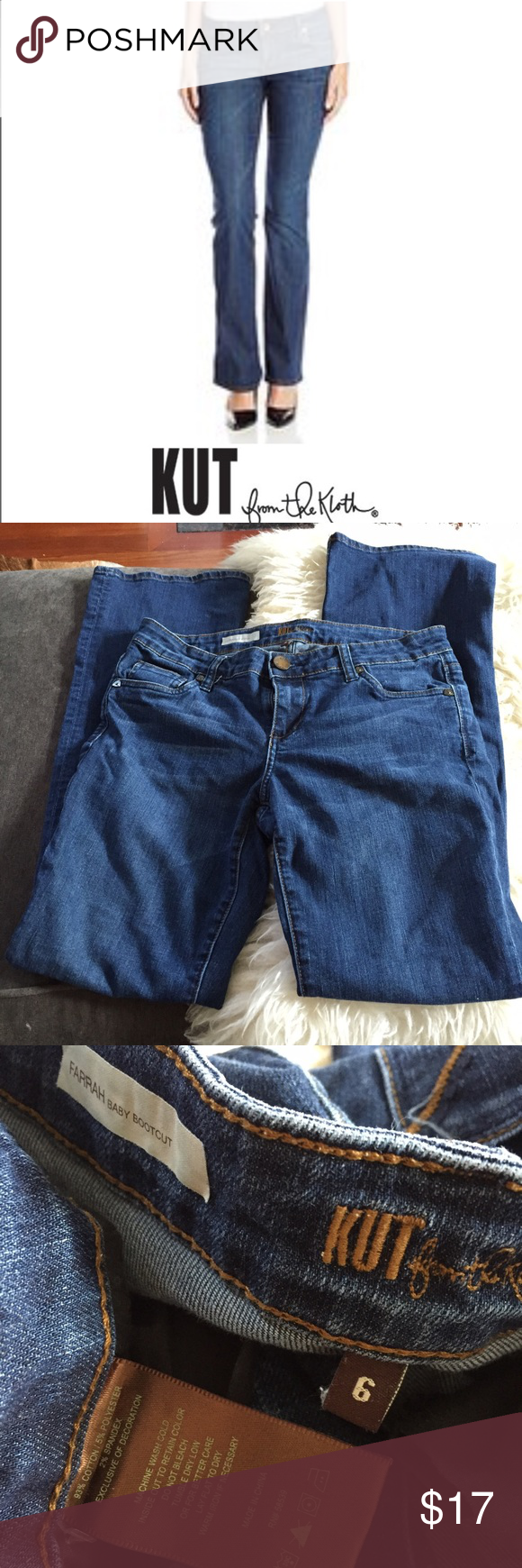 Kut From the Kloth Farrah Baby Bootcut Jeans Kut From the Kloth Farrah Baby Bootcut Jeans. 32 inch inseam. 8.5 inch rise. Gently worn just a few times. Excellent condition. Feel free to make an offer. KUT Jeans Boot Cut