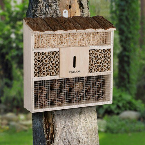 Natural Brown Relaxdays Sparrow Nesting Box Birdhouse Songbirds Wooden HxWxD: 21.5 x 43 x 14.5 cm 3 Nest Chambers