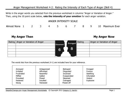 The Skill 4 anger management worksheets for adults are tools for – Anger Worksheet