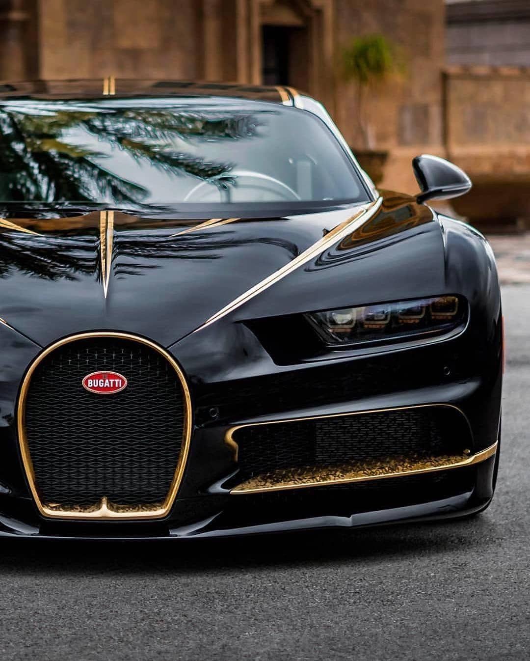 Black Bugatti: Black & Gold Chiron! #Bugatti #Chiron #Black #Gold