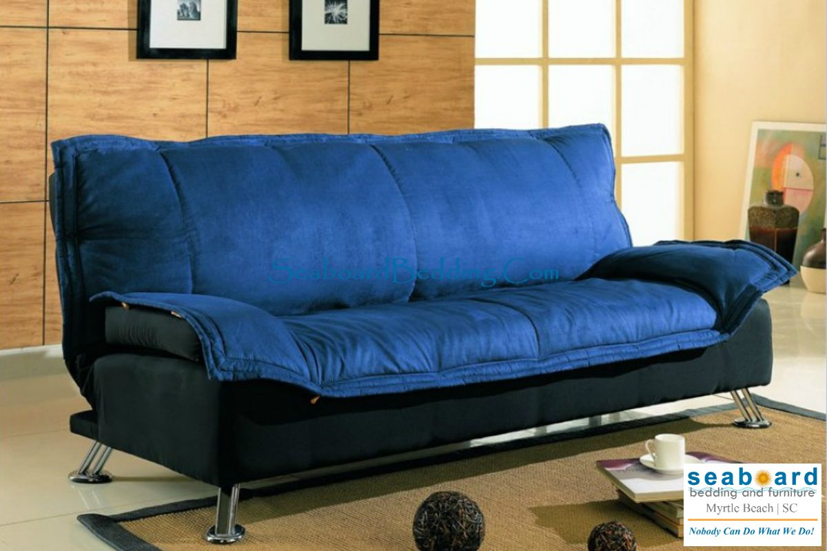 Contemporary Blue Black Futon Sofa Bed W Metal Legs Dimension Finish And Ma